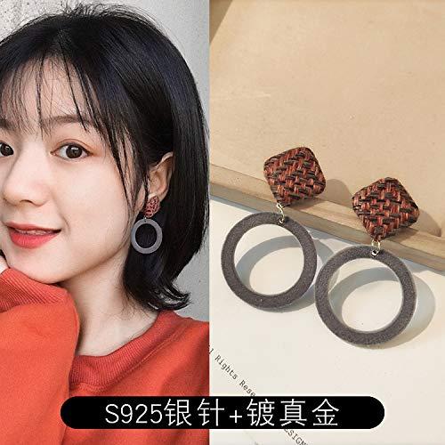 Chwewxi Winter-Plüschkugelohrringe koreanische Elegante Ohrringe Temperament geeignet für rundes Gesicht Ohrringe weiblich, Pfau blau 58 orange kariert (Silberne Nadel)