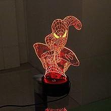 Tipmant Lumière Menée Par 3D 7 Couleurs Illusion de Nuit Lampe de Bureau Décoration D'intérieur Décor de la Chambre des Enfants (Spider Man)