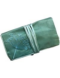 Silk Jewellery Roll, Emerald Green Silk with Embroidery, Fairtrade