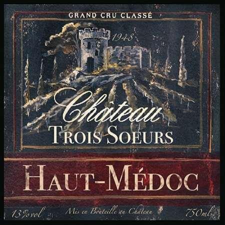 Grand Vin Vin étiquette I par Tre Sorelle Studios–Fine Art Print Disponible sur papier et toile, Papier, SMALL (12.5 x 12.5 Inches )