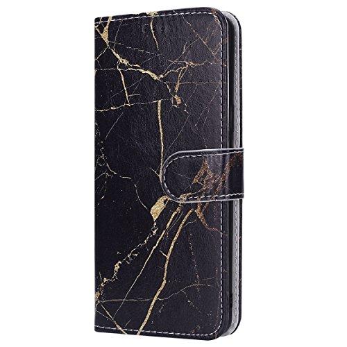 EUWLY Kompatibel mit iPhone 8 Plus/iPhone 7 Plus Ledertasche Handytasche Lederhülle Wallet Hülle im Bookstyle Tasche Marmor Muster Leder Flip Case Cover Klapp Schutz Handy Hülle Kartenfächer,schwarz Klapp-handy