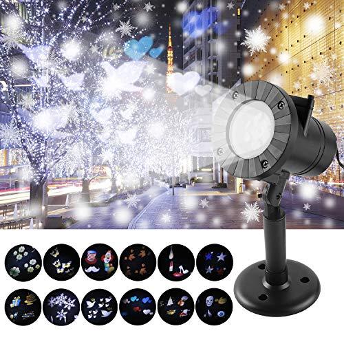 LED Weihnachtsbeleuchtung Außen, IP65 Projektor Lampe mit 12 Wechselbaren Musters Wasserdicht außen Projektionslampe Lichteffekt Beleuchtung für Party Geburtstag Urlaub Halloween Weihnachten