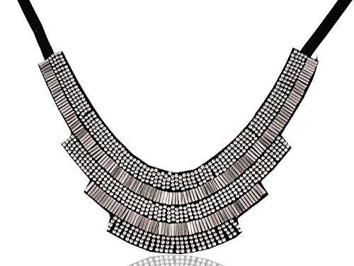 Alilang Metallic Silber Ton Perlen Tribal schwarz Lätzchen Statement (Deco Kostüm Schmuck Art)