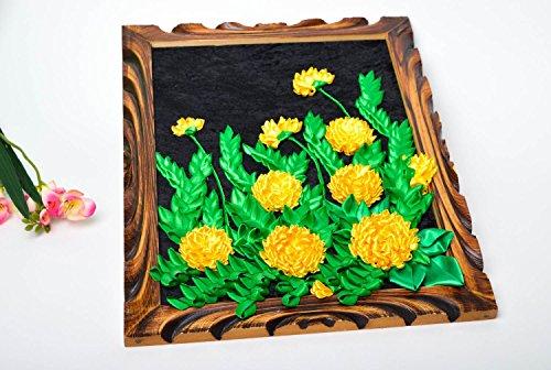 Decoration murale fait main Objet decoratif Deco maison fleurs en rubans