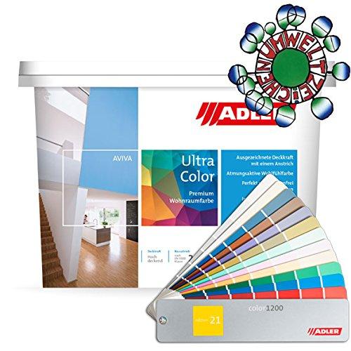 Adler Wandfarbe hellgrau Aviva Ultra-Color Kristall C12 172/2/ 1 Liter Farbe für innen als Dispersionsfarbe (Abtön- und Volltonfarbe)