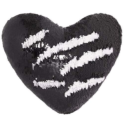 Meerjungfrau Wurfkissen mit Einsatz, Play Tailor Reversible Sequins Kissen Herzform Dekorative Kissen (35 x 40cm, Schwarz + Weiß) -