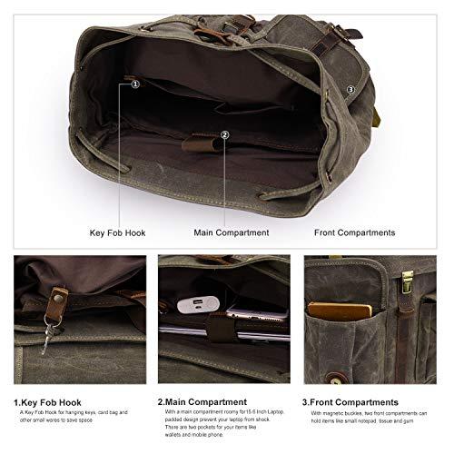 Wind Took Rucksack Daypack aus Canvas Leder Rucksäcke Vintage Retro Tagesrucksack für Uni Büro Alltag mit Laptopfach Wasserdicht 15,6 Zo...
