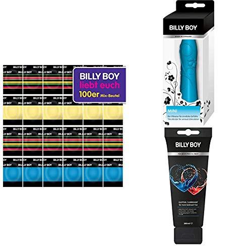 Billy Boy Kondome 100er Beutel Mix-Sortiment aus bunten, perlgenoppten, aromatisierten und extra feuchten Kondomen + Fun Gleitgel in der Tube für mehr Spaß zu Zweit + Mini Vibrator türkis