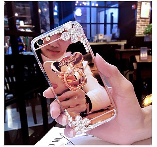 EUWLY Custodia Specchio Case Cover per iPhone 7 Plus/iPhone 8 Plus (5.5), Ultra Sottile Specchio Riflessione Scintilla TPU Custodia Case Bling Glitter Strass Diamante Fiore TPU Custodia Cover Orso An Specchio Diamante Fiore,Oro rosa