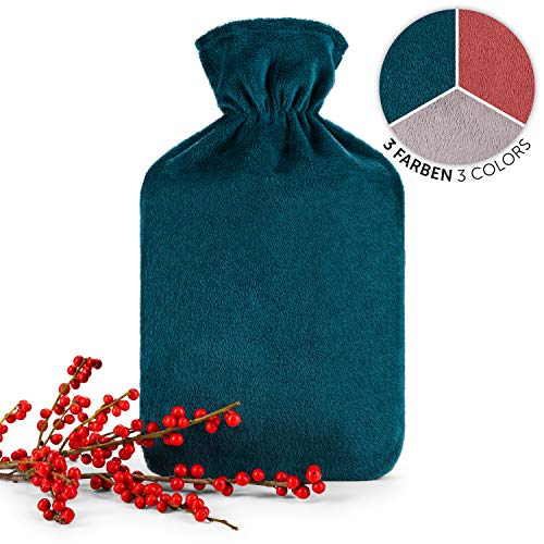Blumtal Wärmflasche mit weichem Bezug - 1,8L Wärmeflasche, Bettflasche, Wärmflasche Kinder, petrol