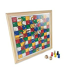 Snakes and Ladders Wooden Board Game Ideal For 2 - 6 players Suitable For Years 4+