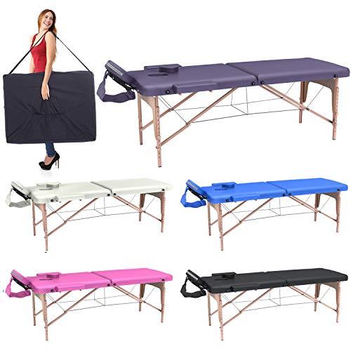 Lettino massaggio professionale 2 zone per estetista- lettino massaggi,lettino estetista fisioterapia,tattoo, in legno portatile richiudibile (lilla)