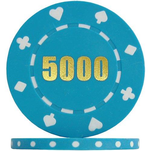 Budget Range Suited Numbered Poker Chips - Light Blue 5000  Roll of 25
