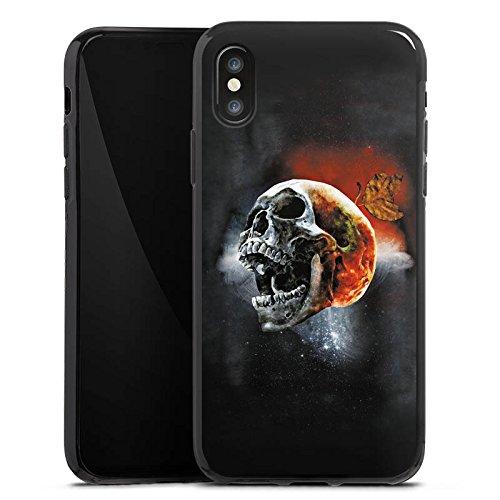 Apple iPhone X Silikon Hülle Case Schutzhülle Totenschädel Kopf Scream Silikon Case schwarz