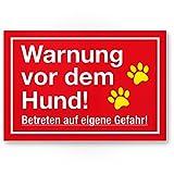 Warnung Hund - Betreten eigene Gefahr (rot) - Hunde Kunststoff Schild, Hinweisschild Gartentor/Gartenzaun - Türschild Haustüre, Warnschild Abschreckung/Einbruchschutz - Achtung Hund