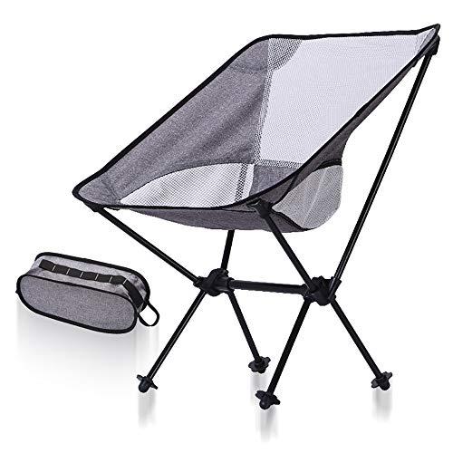 ZRK Tragbarer Campingstuhl, kompakte ultraleichte Aluminiumlegierung zum Zusammenklappen, Rucksackstühle, klein zusammenklappbar, in Tasche verpackbar, Outdoor Camp Picknick Wandern