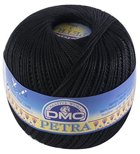 Dmc, gomitolo di filo petra, 100% cotone, colore nero, misura 5