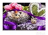 Wallario Herdabdeckplatte / Spritzschutz aus Glas, 2-teilig, 80x52cm, für Ceran- und Induktionsherde, Motiv Ostern - Stillleben II - Bunte Eier, Herzen und Tulpen
