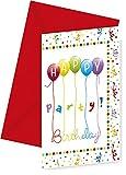 Procos 12-teiliges Einladungskarten-Set * Happy Birthday - Streamers * für Geburtstagsfeier // 6 Einladungen und 6 Umschläge // Kinder Geburtstag Party Invitations Luftballons Luftschlangen