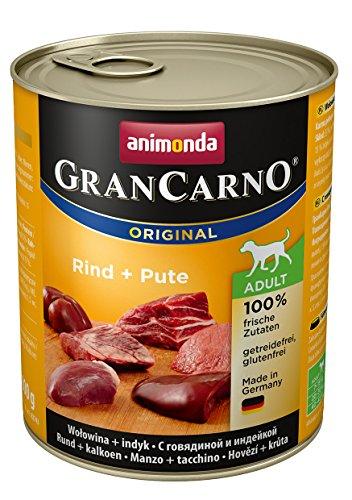 animonda GranCarno Hundefutter, Nassfutter für erwachsene Hunde, verschiedene Sorten, Rind und Pute, 6 x 800 g