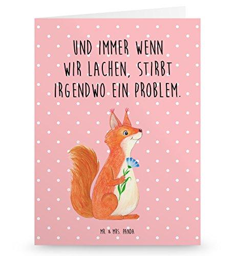 Mr. & Mrs. Panda Grußkarte Eichhörnchen Blume - 100% handmade in Norddeutschland - Lachen, Motivation Bilder, Einladungskarte, Spaß, Eichhorn, glücklich Spruch, Pappe, Gutscheinkarte, Eichhörnchen, Spruch Deko, Karte, Karton Glückliche Bilder
