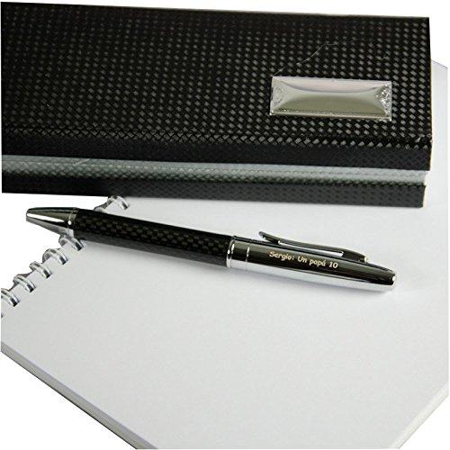 Regalo para hombres personalizable: bolígrafo grabado con el texto que tú quieras (Bolígrafo grabado negro)