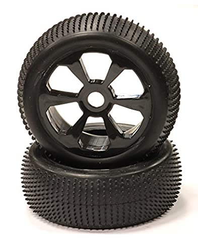 Integy Hobby RC Modell c23955black montiert 1/8Buggy 6Speichen 17mm + Muster micro-spike Tire Set (2)