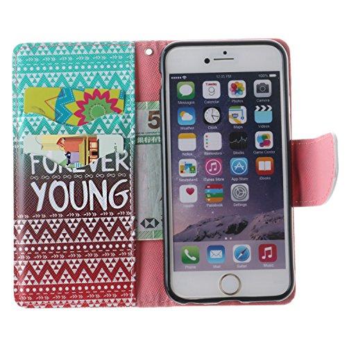 Cozy Hut Custodia iPhone 6 6S (4,7 Zoll) in Pelle, Portafoglio / wallet / libro Flip elegante e di alta qualità con porta carte di credito e banconote Stampa creativa Chiusura Magnetica Protettiva Cov tribù Gradient