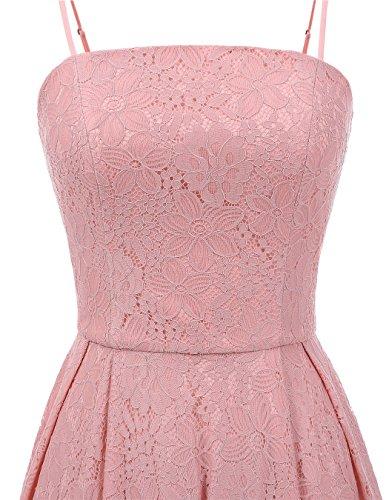ALAGIRLS Frauen Lace Brautjunfer Kleider Spaghetti-Träger Party Kleid Kurz Cocktailkleid Blush