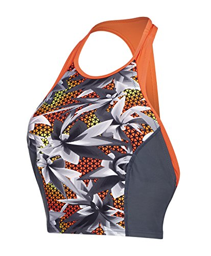 Speedo Damen Hydra Fizz Racerback Tankini Swimwear, Oxid Grey/Black/Hot Orange, M Preisvergleich