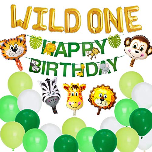 korationen Jungle Safari Theme Tier Luftballons für Jungen 1. 2. Geburtstag mit Happy Birthday Banner Gold Wild One Letter Luftballons ()