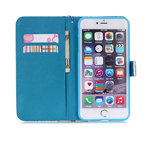 Custodia per iPhone 6 Plus Rosa,TOCASO Farfalla Dandelion Flip Case PU Pelle [Wallet Book Design] per iPhone 6s Plus 5.5 Portafoglio Cover Ultra Sottile Leather Protettivo Cases Covers Shell [Lanyard/ Stylish#1