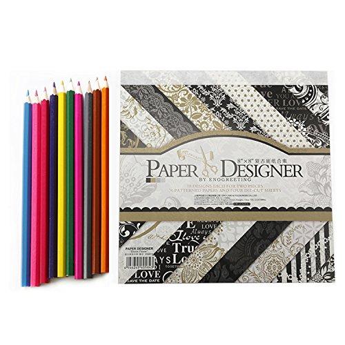 20,3 x 20,3 cm,40 Blatt/Pack Origami Blumen Muster Scrapbooking, Handwerk DIY für Kinder Weihnachten Grußkarten mit 10 Stück Farbe Bleistifte