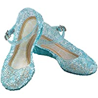 URAQT Zapatos de la Princesa , Zapatos de Disfraz Niñas Sandalias de Vestido con Tacón Plástico para Cumpleaños, Carnaval, Fiesta, Cosplay, Halloween (Azul)