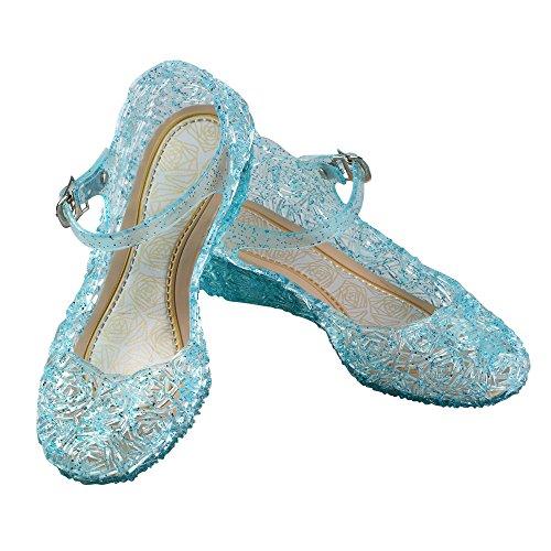 URAQT Prinzessin ELSA Cinderella Absatz-Schuhe Blau Kinder Glanz Weihnachten Verkleidung Karneval Party Halloween - Karneval Kleinkind Kostüme