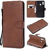 YQXR téléphone Portable Accessoires Etui Portefeuille Alternatif en Cuir de Couleur rétro Solide avec Fentes pour Cartes, Pied de béquille et Fermeture magnétique pour Huawei Nova 3 (Color : Brown)