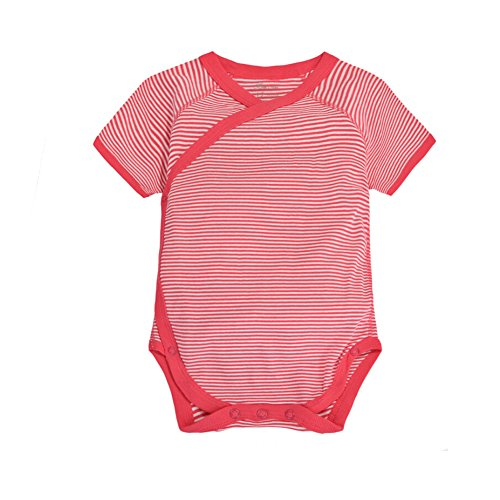 CuteOn Säugling Baby Sommerkleider Onesies Baumwolle Body- Kurzarm Kimono Style mit Side Snaps Rot Striped 3 Monate -