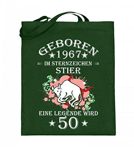 Hochwertiger Jutebeutel (mit langen Henkeln) - Ein Stier wird 50 Green