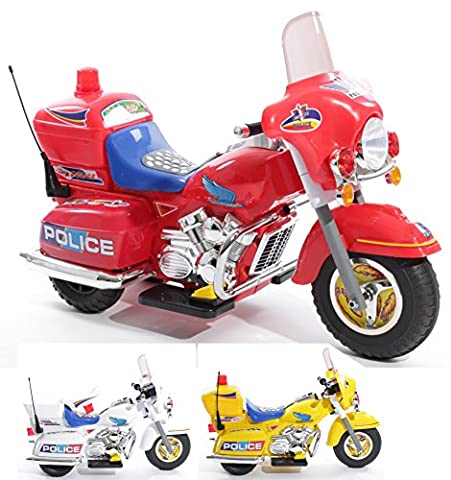 Charles Jacobs Ride on Kids Police Motorcycle Electric Motorbike with 6V Battery Children's Operated Toy Bike Scooter with Realistic Police Siren and Flashing Rear Light 6 Music Options and Horn