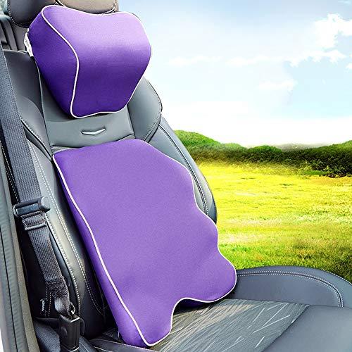 VNIUBI Kopfstützensatz Für Die Rückenlehne, Auto-Sitzkissen, Lendenkissen, Memory Foam, Gesamte Rückenlehne Für Bürostuhl, Ergonomisches Komfort-Sitzkörperkissen, Sicherheitsgurt,H