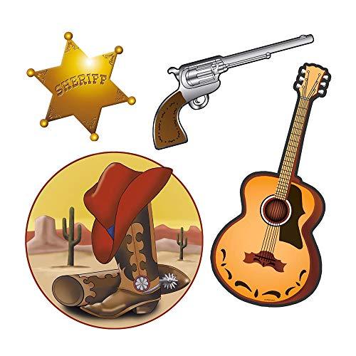 Cowboy Kostüm Themen - Widmann 5062D Western Dekorationsset, Unisex- Erwachsene, Mehrfarbig, Taglia unica
