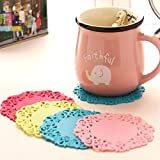Sellify Cute Flower Shaped Colored 4pcs Silicone Flower Mug Coasters Mats Pad Cushion Drinks Tea Cup Holder Color Random