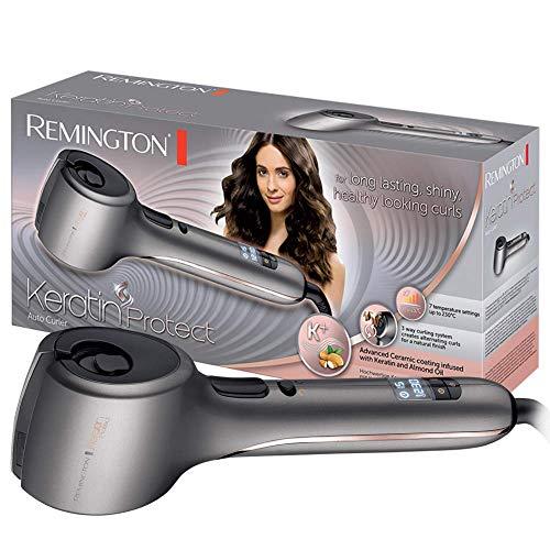 Remington Keratin Protect CI8019 - Rizador de Pelo Automático, Cerámica, Keratina y Aceite de Almendras, Sistema para Rizar en 3 Direcciones, Gris