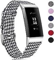 HUMENN Band Compatibel met Fitbit Charge 3 Banje, Ademende Geweven Stoffen Accessoires Band met Klassieke Gesp Compatibel me