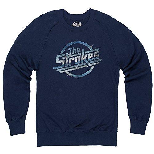 Official The Strokes Felpa girocollo Magna Distressed, Uomo, Blu navy, XL