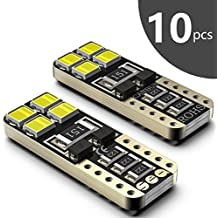 Bombillas LED Coche T10 W5W SEALIGHT 8 SMD Canbus LED T10 555 501 558 2825 175 192 168 194 Y Más Wedge Lampara para coches sin polaridad xenón 12V de interior y exterior 10 Pack Luces LED coche (10) (10)