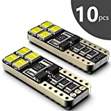 Bombillas LED Coche T10 W5W SEALIGHT 8 SMD Canbus LED T10 555 501 558 2825 175 192 168 194 Y Más Wedge Lampara para coches sin polaridad xenón 12V de interior y exterior 10 Pack Luces LED coche (10)
