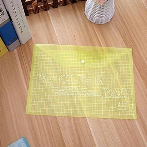 Oubang Transparent Grid Snap Button Sacs en papier PVC Papier Fichier Papeterie Papeterie Fournitures
