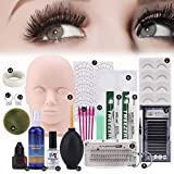 19PCS Practice Mannequin Head Set for Makeup Training and Eyelash Extension, Professional Head Model Glue Tool Kit with Elastic Strap for Massage Eye Lashes Graft for Artist