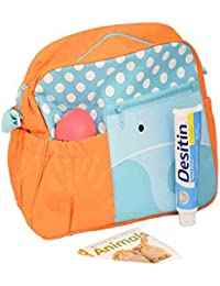 Home Hacks Orange/Blue Mama's Bag, Baby Carrier Bag, Diaper Bag, Travelling Bag With Changing Mat